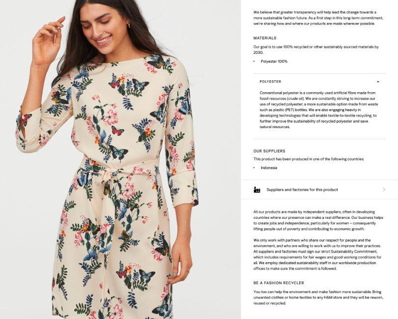 H&M es el primer retailer de moda más importante en llevar la transparencia de producto a escala