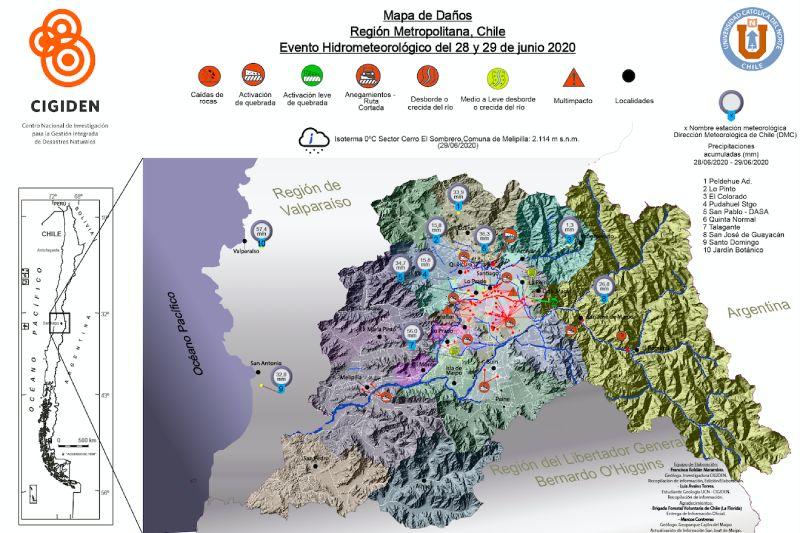 Científicos crean mapa que reúne el impacto de las últimas lluvias en la Región Metropolitana